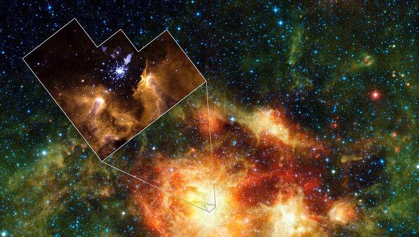 """Астрономы проследили за рождением """"звездных яслей"""" в юной Вселенной"""